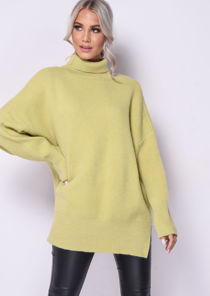 Turtle Neck Oversized Chunky Knit Long Sleeve Jumper Yellow
