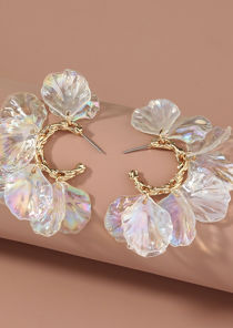 Twisted Petal Shaped Mother Pearl Hoop Earring Gold
