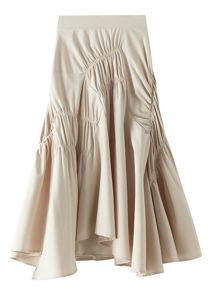 Unbalanced Elasticated Ruched Ruffle Midi Skirt Beige