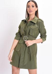 Utility Belted Waisted Mini Shirt Dress Khaki Green