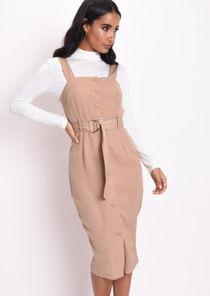 Utility Button Through Dress Camel Brown