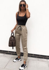 Satin Utility Fitted Chain Detail Jogger Trousers Khaki Green