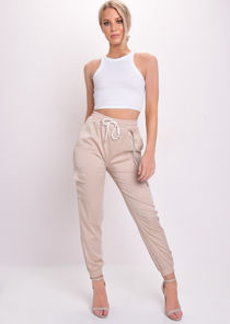 Satin Utility Fitted Chain Detail Jogger Trousers Stone Beige