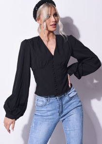 V Neck Button Through Puff Long Sleeve Shirt Top Black