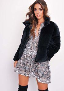 Velvet Cropped Puffer Jacket Coat Black