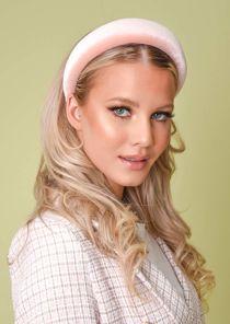Velvet Padded Headband Pink