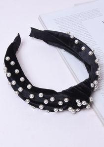 Velvet Pearl Knot Headband Black