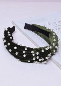 Velvet Pearl Knot Headband Green