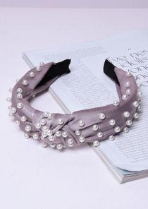 Velvet Pearl Knot Headband Grey