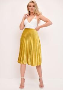 Velvet Pleated Midi Skirt Mustard Yellow