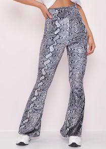 Velvet Snake Print High Waist Flared Trousers Grey