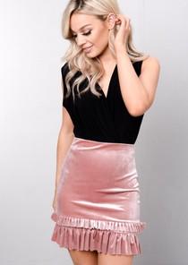 Velvet Tiered Frill Mini Skirt Pink