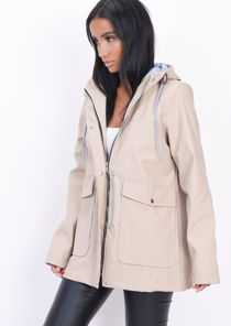 Waterproof Hooded Festival Rain Mac Coat Beige