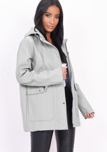 Waterproof Hooded Festival Rain Mac Coat Grey