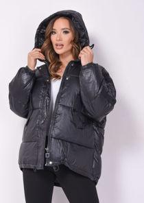 Wet Look Chunky Padded Hooded Oversized Puffer Coat Black