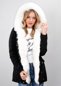 White Faux Fur Trim Hooded Parka Coat Black