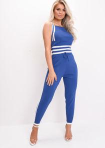 White Stripe Tracksuit Knit Loungewear Set Blue