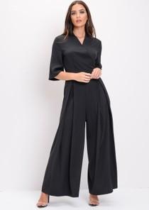 Wide Leg Culotte Jumpsuit Black