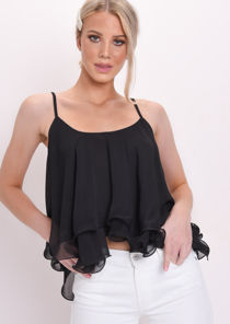 Wire Hem Ruffle Crop Blouse Top Black