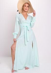 Wrap Front Belted Split Maxi Beach Dress Mint Green