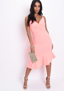 Wrap Front Frill Midi Dress Coral Pink