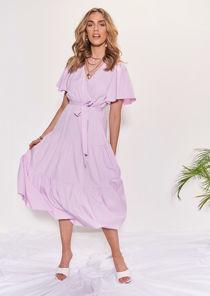 Wrap Over Frill Tiered Waist Tie Midi Dress Purple