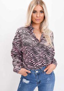 Zebra Print Collared Button Down Shirt Pink