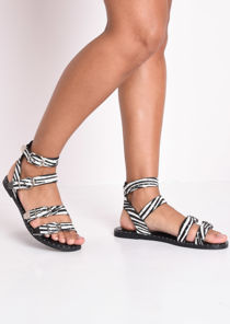 Zebra Print Studded Flat Sandals Multi