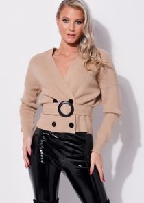 Knitted Wrap Over Belted Cropped Cardigan Beige