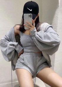 Zip Front Hooded Sweater Loungewear 3 Pieces Set Grey