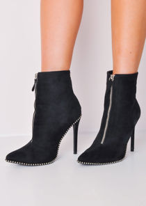 Zip Front Studded Stiletto Ankle Boots Black