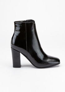 Zip Patent Round Toe Ankle Boots Black