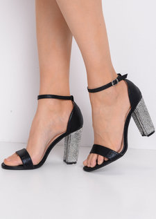 Glitter Diamante Heeled Ankle Strap Heels Black