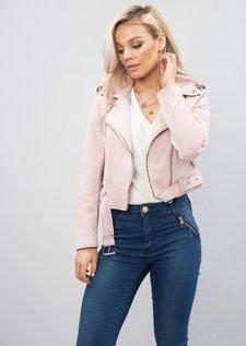 Cropped Faux Suede Biker Jacket Pink