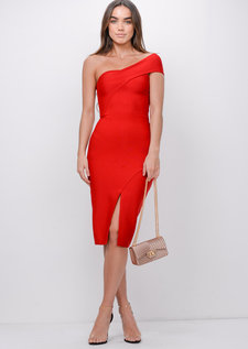 One Shoulder Bodycon Bandage Split Front Midi Dress Red