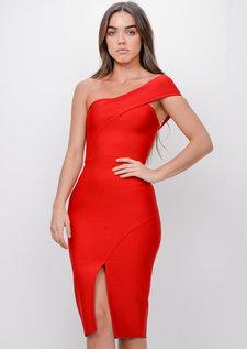 One Shoulder Bodycon Split Front Dress Red