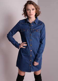 Buttoned Up Denim Shirt Mini Dress Indigo Blue