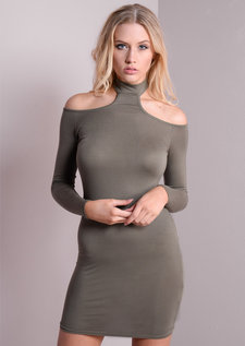 Choker High Neck Cold Shoulder Bodycon Dress Khaki