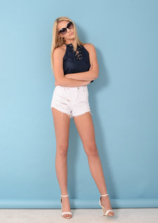 Tanya Lace Up Crop Top Blue