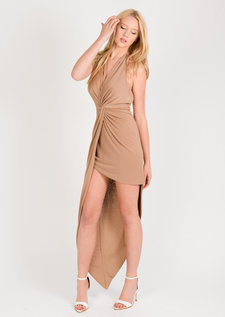 Sammi Asymmetric Halterneck Dress Camel