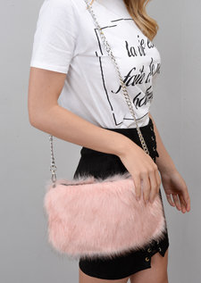 Faux Fur Chain Clutch Bag Pink