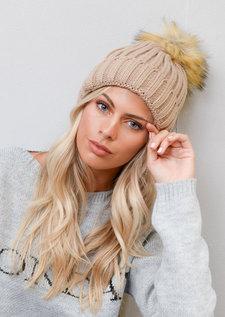 Detachable Faux Fur Pom Pom Knitted Hat camel