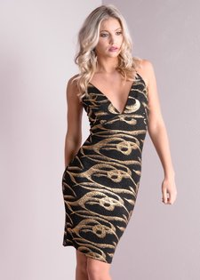 Gold Glitter Plunge Neck Cross Strap Bodycon Dress Black