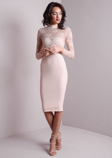 High Neck Lace Insert Mesh Bodycon Dress Nude