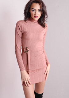 High Neck Ribbed Bodycon Waist Tie Dress Dusty Pink