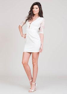 Misha Lace Insert Dress White