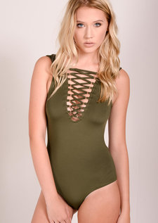 Nila Lace Up Sleeveless Bodysuit Khaki