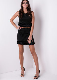 Savannah Black Fluffy Two Piece Co-Ord