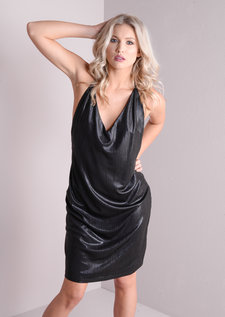 Slinky Metallic Open Back Plunge Neck Dress Black