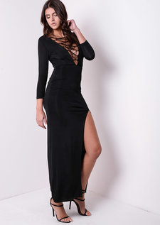 Slinky Thigh High Split Lace Up Dress Black